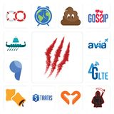 Set of claw mark, grim reaper, handicraft company, stratis, krave, 4g lte, comma, avia, viking ship icons. Set Of 13 simple  icons such as claw mark, grim reaper Stock Photography