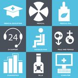 Set Of 9 simple  icons. Such as computer, pills, diagnostics, male and female, disabled man, 24 support, medical pill, medical, medical education, can be used Stock Photography