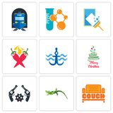 Set Of 9 simple  icons such as couch, lizard, revolver. Merry christmas, navy anchor, chili pepper, window cleaning, chemical company, train station, can be Stock Photography