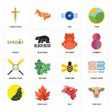 Set of cow head, bull, , honey bee, baseball team, cute bear, sprout, disk, church cross icons. Set Of 16 simple  icons such as cow head, bull, maple leaf Stock Images