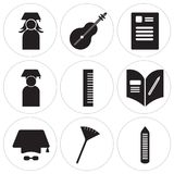 Set Of 9 simple  icons. Such as Crayons, Pom pom, Mortarboard, Homework, Set square, Graduate, Newspaper, Violin, Graduate, can be used for mobile, web UI Royalty Free Stock Photography