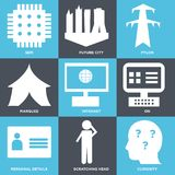 Set Of 9 simple  icons. Such as curiosity, scratching head, personal details, on, intranet, marquee, pylon, future city, sem, can be used for mobile, web UI Stock Photos