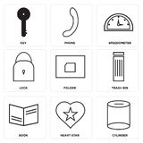 Set Of 9 simple  icons. Such as cylinder, heart star, book, trash bin, folder, lock, speedometer, phone, key, can be used for mobile, web UI Stock Image