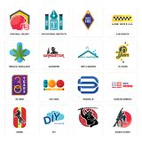 Set of dance studio, , horse, minimal b, 30 year, dry cleaning, medical marijuana, football helmet icons. Set Of 16 simple  icons such as dance studio, , diy Royalty Free Stock Photography