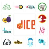 Set of dice, elephant head, jellyfish, fight club, revolver, pregnancy, turbine, , plum icons. Set Of 13 simple  icons such as dice, elephant head, jellyfish Royalty Free Stock Photos