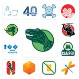Set of dino, dragonfly, gluten free, cubic, horse, camper, 100 year anniversary, , rhino icons. Set Of 13 simple  icons such as dino, dragonfly, gluten free Stock Photo