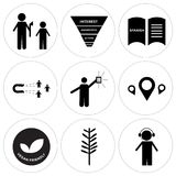 Set Of 9 simple  icons. Such as dispatch, lavender, vegan friendly, store locator, lucky draw, lead generation, spanish language, marketing funnel on white Stock Photos