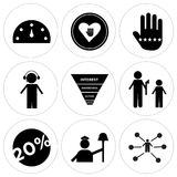 Set Of 9 simple  icons. Such as distributor, labor day, execution, marketing funnel on white background, in black,, dispatch, customer loyalty, philanthropy Royalty Free Stock Images