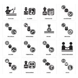 Set of Diver, Singer, Chef, Builder, Soldier, Driver, Policeman, Firefighter, Musician icons. Set Of 16 simple  icons such as Diver, Singer, Programmer, Chef Royalty Free Stock Image