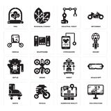 Set of Dna structure, Augmented reality, Boots, Robot, Kettle, Stethoscope, Vehicle, Industrial robot, Tree icons. Set Of 16 simple  icons such as Dna structure Stock Photos
