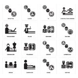 Set of Doctor, Nurse, mover, Chemist, Dressmaker, Engineer, Programmer, DJ, Detective icons. Set Of 16 simple  icons such as Doctor, Nurse, carpenter, mover Royalty Free Stock Images