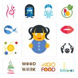Set of doll, billiards, go food, woodwork, merry christmas, revolver, solar system, lips, aeroplane icons. Set Of 13 simple  icons such as doll, billiards, go Royalty Free Stock Photography