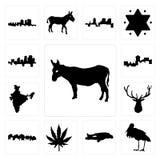 Set of donkey, stork, chalk, marijuana leaf, utah, elk head, india, montana, arkansas icons. Set Of 13 simple  icons such as donkey, stork, chalk, marijuana leaf Stock Images