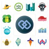 Set of double d, wn, travel, rams, queen bee, free stock, house cleaning, piranha, mobile os a icons. Set Of 13 simple  icons such as double d, wn, travel, rams Stock Images