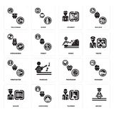 Set of Driver, Plumber, Sailor, Professor, Firefighter, Miner, Stewardess, Student, Policeman icons. Set Of 16 simple  icons such as Driver, Plumber, Concierge Royalty Free Stock Photos