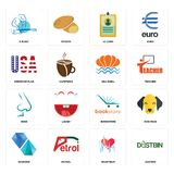 Set of dustbin, heartbeat, diamond, bookstore, nose, sea shell, american flag, id card, s music icons. Set Of 16 simple  icons such as dustbin, heartbeat, petrol Stock Photography