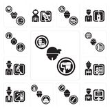 Set of Dyer, Programmer, Carpenter, Concierge, Magician, Firefighter, Detective, Support, Maid icons. Set Of 13 simple  icons such as Dyer, Programmer, Carpenter Stock Images