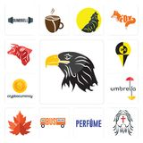 Set of eagle head, , maple leaf, umbrella, cryptocurrency, bull icons. Set Of 13 simple  icons such as eagle head, , maple leaf, umbrella, cryptocurrency, bull Stock Photography