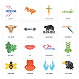 Set of eagle head, two hands, honey bee, cardiology, oak leaf, black bear, cow church cross, rowing icons. Set Of 16 simple  icons such as eagle head, two hands Royalty Free Stock Images