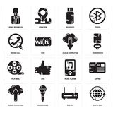 Set of Earth grid, Router, Cloud computing, Music player, Film reel, Phone call, Pendrive, News reporter icons. Set Of 16 simple  icons such as Earth grid Royalty Free Stock Photos