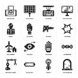 Set of Egg incubator, Rocket, Industrial robot, Wi gloves, Eolic energy, Blaster, Robot, Keyboard, Smartphone icons. Set Of 16 simple  icons such as Egg Royalty Free Stock Photography