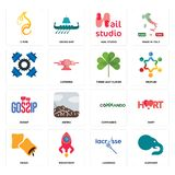Set of elephant, lacrosse, krave, commando, gossip, three leaf clover, , nail studio, c fire icons. Set Of 16 simple  icons such as elephant, lacrosse Royalty Free Stock Image