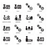 Set of Engineer, carpenter, Student, mover, Firefighter, Miner, Construction worker, Mechanic, Pirate icons. Set Of 16 simple  icons such as Engineer, carpenter Stock Photography