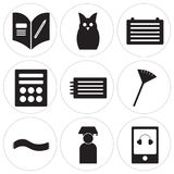 Set Of 9 simple  icons. Such as Eraser, Graduate, Scarf, Pom pom, Science, Calculator, File, Owl, Homework, can be used for mobile, web UI Royalty Free Stock Images