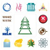Set of ever tree, celtic knot, weed leaf, chick, solar panel, coffe, helm, cancel, woodwork icons. Set Of 13 simple  icons such as ever tree, celtic knot, weed Royalty Free Stock Photography