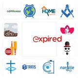 Set of expi, nargile, camera, stratis, christian fish, mister, cricket club, massage therapist, sierra icons. Set Of 13 simple  icons such as expi, nargile Stock Photography