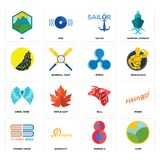 Set of farm, number 8, student book, bull, angel wing, ripple, , sailor, pic icons. Set Of 16 simple  icons such as farm, number 8, warranty, student book Royalty Free Stock Image