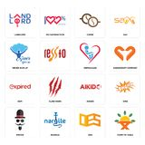 Set of farm to table, oes, mister, aikido, expi, orphanage, never give up, cofee, landlord icons. Set Of 16 simple  icons such as farm to table, oes, nargile Stock Images