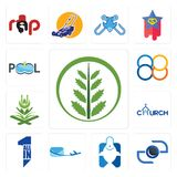 Set of fern, camera, fishing store, air mail, all in one, church, quran, 88, pool company icons. Set Of 13 simple  icons such as fern, camera, fishing store, air Royalty Free Stock Images