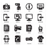 Set of File transfer, Projector, Smartphone, Agenda, Newspaper, Display, Info, Photo camera icons. Set Of 16 simple  icons such as File transfer, Projector Royalty Free Stock Photography