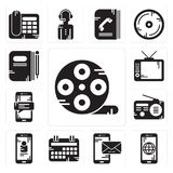 Set of Film reel, Smartphone, Calendar, Radio, Television, Book icons. Set Of 13 simple  icons such as Film reel, Smartphone, Calendar, Radio, Television, Book Royalty Free Stock Photography