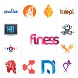 Set of finess, lupus, na, share png, singapore lion, trishul, honor flight, gangsta, hi def icons. Set Of 13 simple  icons such as finess, lupus, na, share png Stock Photos