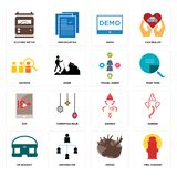 Set of fire hydrant, moose, vr headset, ganesh, xxx, travel agent, advisor, demo, electric meter icons. Set Of 16 simple  icons such as fire hydrant, moose Royalty Free Stock Photography