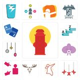Set of fire hydrant, xxx, dab, moose, advisor, orchid, christmas bulb, vocabulary, vocabulary icons. Set Of 13 simple  icons such as fire hydrant, xxx, dab Stock Image