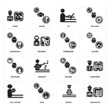 Set of Firefighter, Driver, call center, Builder, Politician, Electrician, De, Miner icons. Set Of 16 simple  icons such as Firefighter, Driver, Maid, call Stock Image