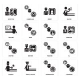 Set of Fisherman, Programmer, Student, Teacher, Doctor, Gardener, Priest, Detective icons. Set Of 16 simple  icons such as Fisherman, Programmer, traffic police Stock Photo