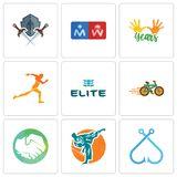 Set Of 9 simple  icons such as fishing hook, martial arts, hands shaking. Bike shop, the elite, running club, 10 years, restroom, shield and sword, can be used Stock Photo