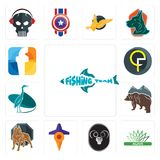 Set of fishing team, agave, ram, travel, pit bull, free bear, heron, qf, f icons. Set Of 13 simple  icons such as fishing team, agave, ram, travel, pit bull Royalty Free Stock Image