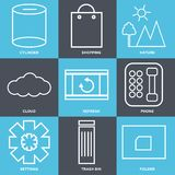 Set Of 9 simple  icons. Such as folder, trash bin, settings, phone, refresh, cloud, nature, shopping, cylinder, can be used for mobile, web UI Royalty Free Stock Photography