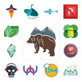 Set of free bear, moutain, chef, wn, skull with headphone, pinetree, rams, mobile os a, stevia icons. Set Of 13 simple  icons such as free bear, moutain, chef Stock Photos