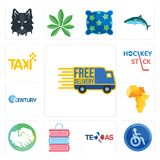 Set of free delivery, disabled, texas, book shop, hands shaking, africa map, century, hockey stick, taxi icons. Set Of 13 simple  icons such as free delivery Royalty Free Stock Photo
