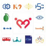 Set of friendship, durga, raw file, church, bus, baseball, gymshark, eye, grenade icons. Set Of 13 simple  icons such as friendship, durga, raw file, church, bus Royalty Free Stock Images