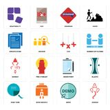 Set of ganesh, demo, page turn, order form, xxx, specification, grammar, adaptability icons. Set Of 16 simple  icons such as ganesh, demo, bank branch, page turn Stock Image