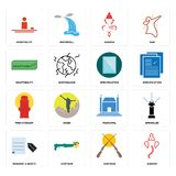 Set of ganesh, shotgun, request a quote, municipal, fire hydrant, specification, adaptability, hospitality icons. Set Of 16 simple  icons such as ganesh, shotgun Royalty Free Stock Photography