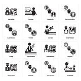 Set of Gardener, Taxi driver, Chauffeur, Hairdresser, Miner, Waiter, Electrician, Spaceman icons. Set Of 16 simple  icons such as Gardener, Taxi driver, Painter Stock Photo