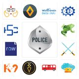 Set of generic police, supreme, bus, luxury, k9, excalibur, raw file, big frog, hsc icons. Set Of 13 simple  icons such as generic police, supreme, bus, luxury Stock Photos
